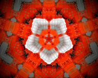 Abstract extruded mandala 3D illustration. Orange and white. Black and Gray. Extruded mandala. 3D illustration. Abstract shapes. Five sided star inside pentagon Stock Photos