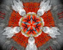 Abstract extruded mandala 3D illustration. Orange and white. Black, yellow and gray. Extruded mandala. 3D illustration. Abstract shapes. Five sided star Stock Photography