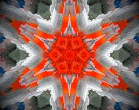 Abstract extruded mandala 3D illustration. Orange and white. Blue, green and gray. Extruded mandala. 3D illustration. Abstract shapes. Six sided star Stock Images