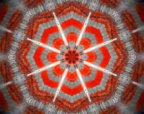 Abstract extruded mandala 3D illustration. Orange and white. Extruded mandala. 3D illustration. Abstract shapes. Eight sided star Royalty Free Stock Image