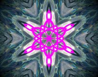 Abstract extruded mandala 3D illustration. Pink, blue and green. Turquoise, white and black. Extruded mandala. Abstract six sided star shape Royalty Free Stock Photo