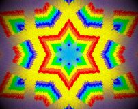 Abstract extruded mandala 3D illustration rainbow Stock Image