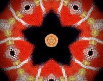 Abstract extruded mandala 3D illustration. Red and beige. Black and white. Extruded mandala. 3D illustration. Abstract shapes. Five sided star Stock Photography