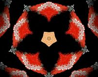 Abstract extruded mandala 3D illustration. Red and beige. Black and white. Extruded mandala. 3D illustration. Abstract shapes. Five sided star and pentagon Royalty Free Stock Photo