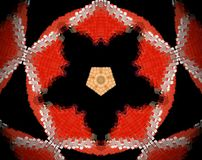 Abstract extruded mandala 3D illustration. Red and beige. Black and white. Extruded mandala. 3D illustration. Abstract shapes. Five sided star and pentagon Royalty Free Stock Photos