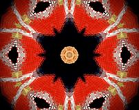 Abstract extruded mandala 3D illustration. Red and beige. Black and white. Extruded mandala. 3D illustration. Abstract shapes. Six sided star Stock Images