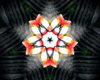 Abstract extruded mandala 3D illustration. Extruded mandala. 3D illustration. Abstract shapes. Black and white. Orange, yellow and red. Five sided star Royalty Free Stock Photo