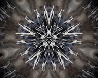 Abstract extruded mandala 3D illustration 5 sided star. Brown and blue. White and black. Extruded mandala. Abstract five sided star shape Stock Image