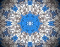 Abstract extruded mandala 3D illustration. White, blue and brown. Extruded mandala. 3D illustration. Abstract shapes. Eight sided star Royalty Free Stock Images