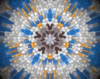 Abstract extruded mandala 3D illustration. White, blue and brown. Extruded mandala. 3D illustration. Abstract shapes. Five sided star Stock Photos