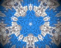 Abstract extruded mandala 3D illustration. White, blue and brown. Extruded mandala. 3D illustration. Abstract shapes. Five sided star Stock Image