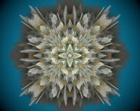 Abstract extruded mandala 3D illustration. White, green, yellow and blue. Extruded mandala. Abstract four sided star shape Royalty Free Stock Images