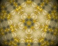 Abstract extruded mandala 3D illustration. Yellow and brown. Black and white. Extruded mandala. 3D illustration. Abstract shapes. Five sided star Royalty Free Stock Image