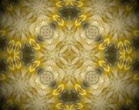 Abstract extruded mandala 3D illustration. Yellow and brown. Black and white. Extruded mandala. 3D illustration. Abstract shapes. Four sided star Royalty Free Illustration