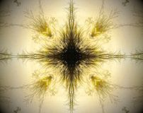 Abstract extruded mandala 3D illustration. Yellow and brown. Black and white. Extruded mandala. 3D illustration. Abstract shapes. Four sided star Royalty Free Stock Images