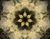 Abstract extruded mandala 3D illustration. Yellow and brown. Black and white. Extruded mandala. 3D illustration. Abstract shapes. Seven sided star Stock Images
