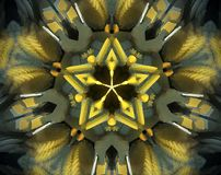Abstract extruded mandala 3D illustration. Yellow, green and gray. Blue, brown and orange. Extruded mandala. 3D illustration. Abstract shapes. Five sided star Stock Photos