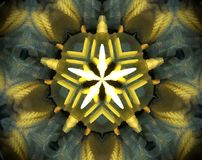 Abstract extruded mandala 3D illustration. Yellow, green and gray. Blue, white and orange. Extruded mandala. 3D illustration. Abstract shapes. Five sided star Royalty Free Stock Photography
