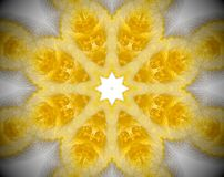 Abstract extruded mandala 3D illustration. Yellow and white. Extruded mandala. 3D illustration. Abstract shapes. Eight sided star Stock Photography