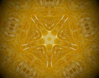 Abstract extruded mandala 3D illustration. Yellow and white. Extruded mandala. 3D illustration. Abstract shapes. Five sided star Stock Images