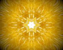 Abstract extruded mandala 3D illustration. Yellow and white. Extruded mandala. 3D illustration. Abstract shapes. Six sided star Stock Photo