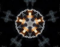 Abstract extruded mandala 5 sided star. Black, white and orange. Extruded mandala. Abstract five sided star shape Royalty Free Stock Images