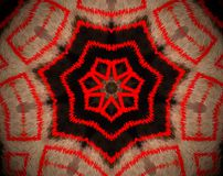 Abstract extruded mandala 7 sided star. Brown and red. Extruded mandala. Abstract heptagon shape. Seven sided star Stock Image