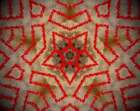 Abstract extruded mandala 5 sided star. Brown and red. Extruded mandala. Abstract shape. Five sided star Stock Photo