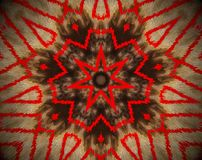 Abstract extruded mandala 7 sided star. Brown and red. Extruded mandala. Abstract shape. Seven sided star Stock Images