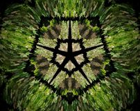 Abstract extruded mandala 5 sided star. Green, brown and black. Extruded mandala. Abstract shape. Five sided star inside pentagon Stock Photos