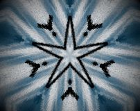 Abstract extruded mandala 5  sided star. White, blue and black… Extruded mandala. Abstract five sided star shape Stock Photos