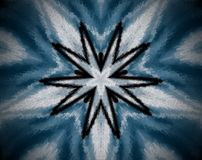 Abstract extruded mandala 10  sided star. White, blue and black… Extruded mandala. Abstract ten sided star shape Royalty Free Stock Photo