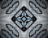 Abstract extruded mandala square. White, blue and black… Extruded mandala. Abstract square and four sided star shape Royalty Free Stock Image