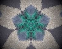 Abstract extruded mandala. Violet, green, beige and black. Abstract small squares extruded mandala. Five sided star shape inside pentagon stock illustration