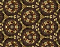 Abstract extruded pattern 3D illustration. Brown, green and red. Black and white. Seamless extruded background pattern. 3D illustration. Abstract shapes Stock Images