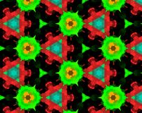 Abstract extruded pattern 3D illustration. Green and blue. Red and black. Seamless extruded background pattern. 3D illustration. Abstract shapes. Triangles Royalty Free Stock Photo