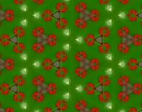 Abstract extruded pattern 3D illustration. Green, red and white. Seamless extruded background pattern. 3D illustration. Abstract shapes. Triangles Stock Photography