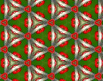 Abstract extruded pattern 3D illustration. Green, red and white. Seamless extruded background pattern. 3D illustration. Abstract shapes. Triangles Stock Images