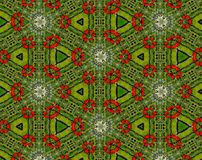 Abstract extruded pattern 3D illustration. Green, red and white. Seamless extruded background pattern. 3D illustration. Abstract shapes. Triangles Stock Photo