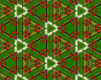 Abstract extruded pattern 3D illustration. Green, red and white. Seamless extruded background pattern. 3D illustration. Abstract shapes. Triangles Royalty Free Stock Photo