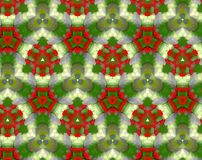 Abstract extruded pattern 3D illustration. Green, red and white. Seamless extruded background pattern. 3D illustration. Abstract shapes. Triangles and hexagons Stock Photos