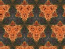 Abstract extruded pattern 3D illustration. Orange and brown. Green and red. Seamless extruded background pattern. 3D illustration. Abstract shapes. Triangles Royalty Free Stock Photos