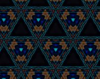 Abstract extruded pattern 3D illustration. Orange, red and brown. Black, green and blue. Seamless extruded background pattern. 3D illustration. Abstract shapes Royalty Free Stock Photography