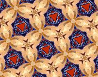 Abstract extruded pattern 3D illustration. Orange, red and brown. Black, white and blue. Beige. Seamless extruded background pattern. 3D illustration. Abstract Stock Photo