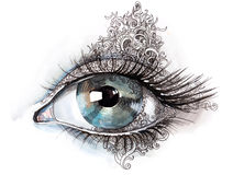 Abstract eye. Graphic painting of beautiful human eye abstract decorated Stock Images