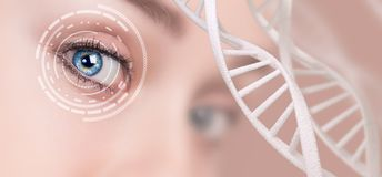 Abstract eye with digital circle and DNA chains. Futuristic vision science and identification concept Stock Images