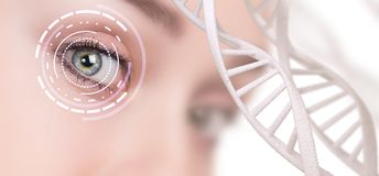 Abstract eye with digital circle and DNA chains. Futuristic vision science and identification concept Stock Photos