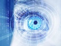 Abstract eye with digital circle. Futuristic vision science and identification concept. Abstract eye with digital circle. Futuristic vision science and stock photos