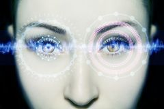 Abstract eye with digital circle. Futuristic vision science and identification concept. Abstract eye with digital circle. Futuristic vision science and stock photo