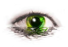 Abstract  eye with  earth  with water reflection Stock Images